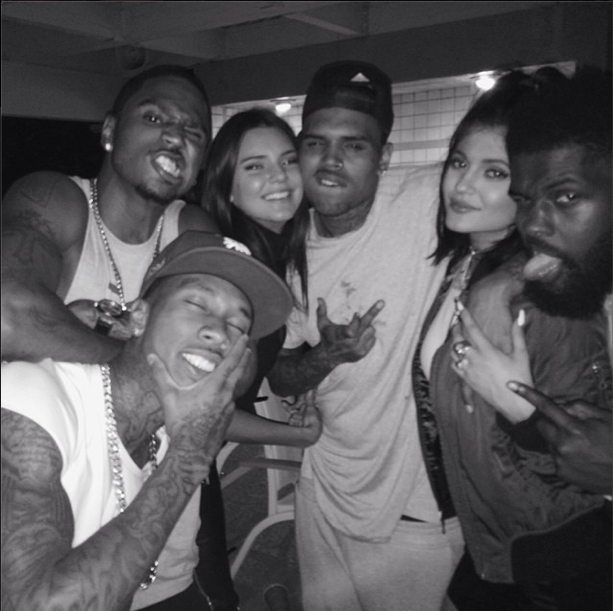 Chris Brown with the Jenners