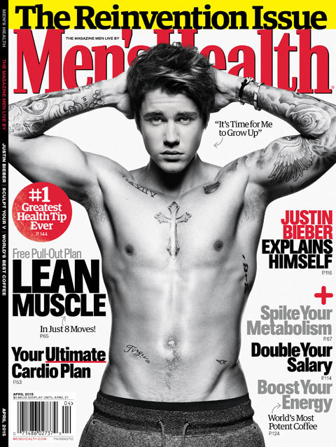 Justin Bieber Men's Health Cover