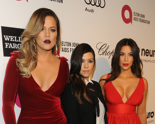 Kim, Kourtney and Khloe Kardashian Attend Oscars Party