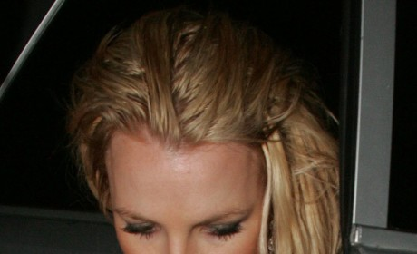 Nude Britney Spears Hides Behind Changing Room Curtain