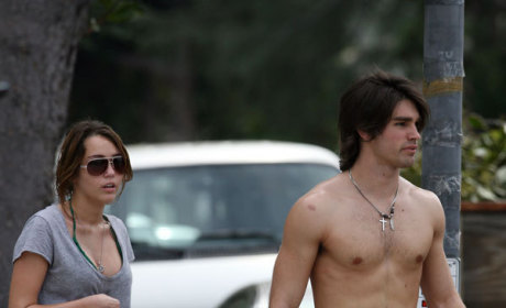 Miley Cyrus and Justin Gaston: Shirtless, Cleavage-Laden Joggers