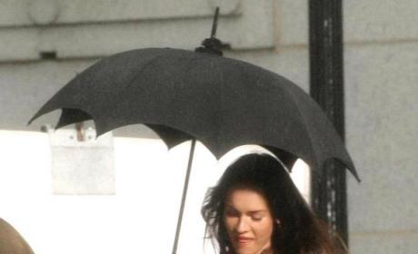 Megan Fox Under an Umbrella