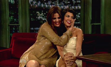 Khloe and Kourtney on Late Night