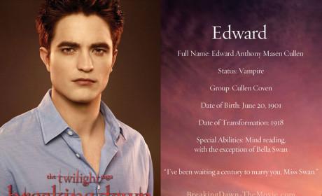 Edward Cullen Character Card
