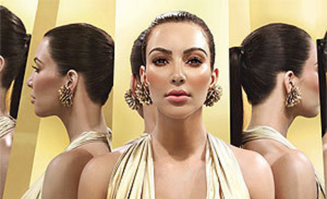 Kim Kardashian Goes Gold, Promotes Fragrance, Breasts