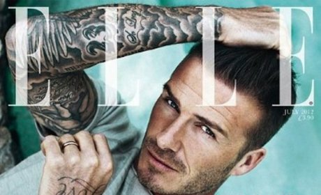 David Beckham: Shirtless, Wet in Elle UK