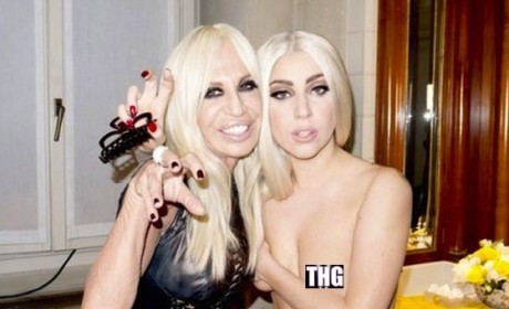 Lady Gaga: Topless With Donatella Versace!