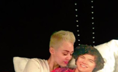 Miley Cyrus Cuddles with Harry Style Cutout