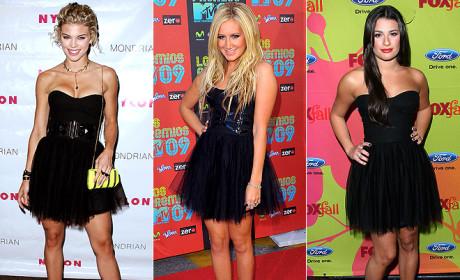 AnnaLynne McCord vs. Ashley Tisdale vs. Lea Michele: A Battle of Black-Dressed Beauties!