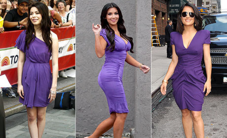 Purple Pretty-Off: Miranda Cosgrove vs. Kim Kardashian vs. Salma Hayek