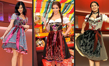 Katy vs. Kim vs. Salma: A Dirndl Dress-down!