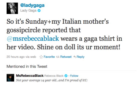 Lady Gaga Tweets Love For Rebecca Black
