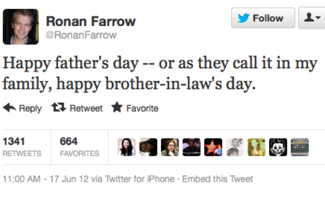 Ronan Farrow, Woody Allen's Son, Rips Dad in Father's Day Tweet