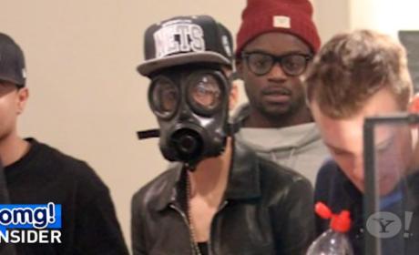 Justin Bieber Wears Gas Mask in London
