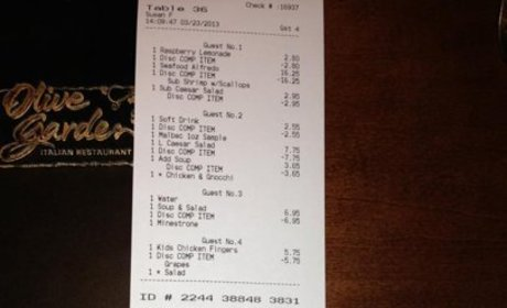 Olive Garden Receipt Sparks Debate on Reddit: Good Deed or Marketing Hoax?