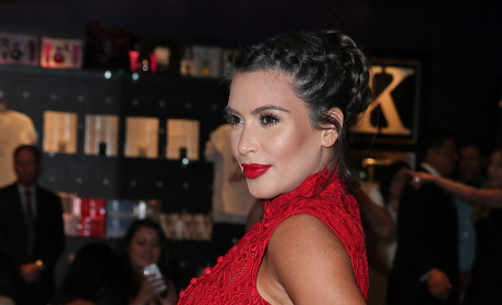 Pregnant Kim Kardashian in Red