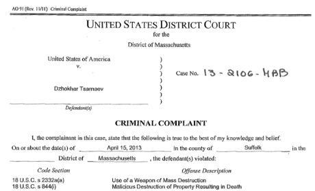 Boston Bombing Criminal Complaint
