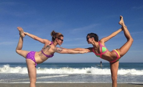 Nina Dobrev Does Beach Yoga, Sort of Taunts Ian Somerhalder