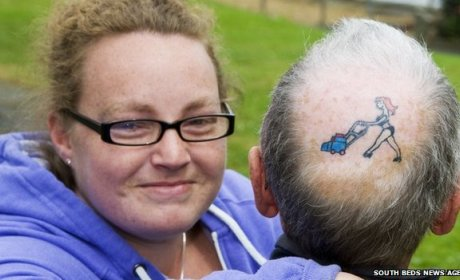 British Man Tattoos Bikini-Clad Wife on Bald Spot