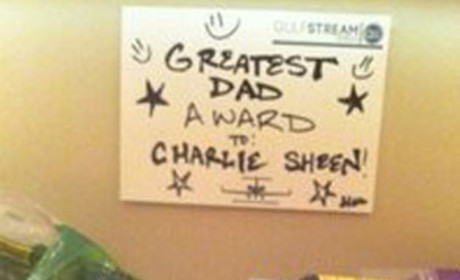 "Charlie Sheen ""Greatest Dad Award"" Photo Tweeted For Unknown Reasons"