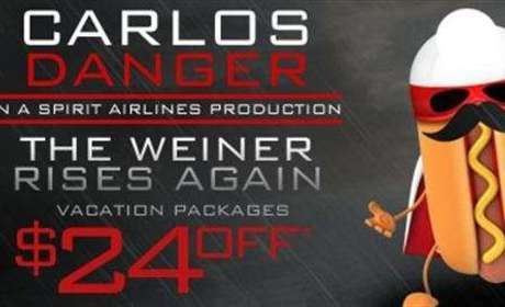 Carlos Danger: The Weiner Rises Again in New Spirit Airlines Ad!