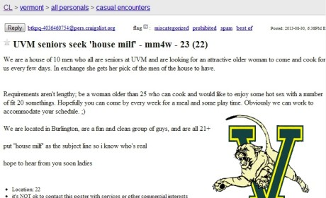 "House MILF Craigslist Ad: Vermont Seniors Seek ""Older"" Woman For Cooking, Boning"