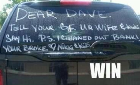 Scorned Wife Goes All Carrie Underwood on Cheating Husband, Wins Internet