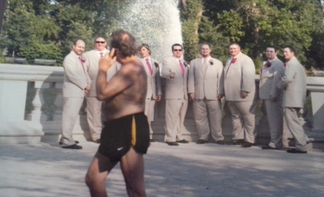 Shirtless Man Photobombs Wedding Party ... or Vice Versa