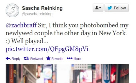Zach Braff Photobombs Newlyweds in Times Square