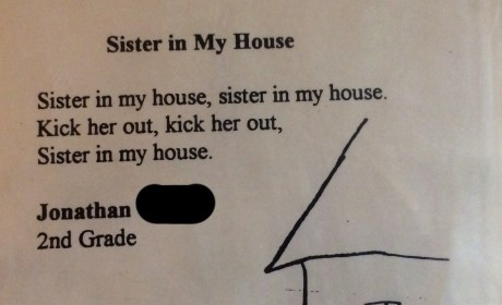 Kid Wants Sister Kicked Out of the House, as Illustrated By Epic Poem