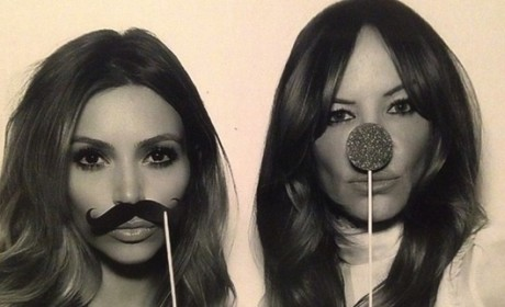 Kim Kardashian with Fake Mustache