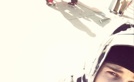 Justin Bieber Snowboarding Selfie