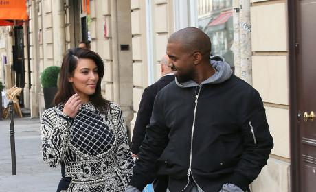 Kim Kardashian and Kanye West in Paris, France