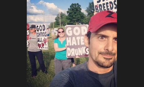 Brad Paisley Snaps Selfie in Front of Westboro Baptist Church Protestors