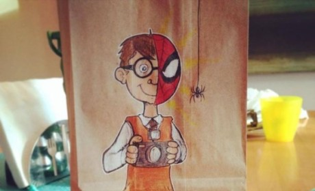 Dad Draws on Son's Lunch Bags: Amazing Pics!