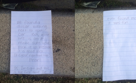 8-Year Finds Dollar Bill on Ground, Leaves Adorable Note for Owner