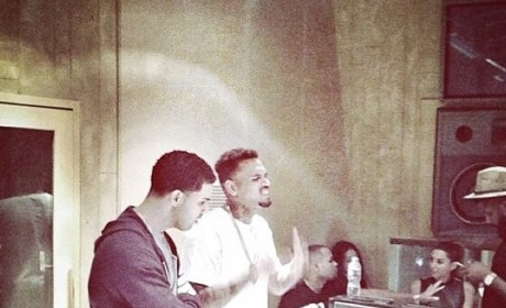 Chris Brown and Drake Hang Out in The Studio: Rihanna Who?