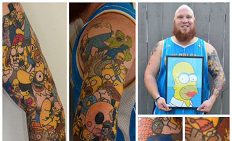 New Zealand Man Sets World Record for Cartoon Character Tattoos: D'Oh Wow!