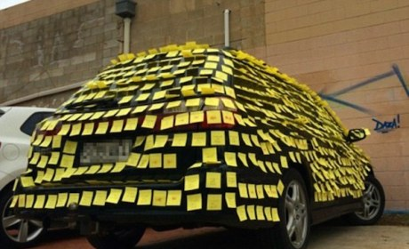 Boyfriend Uses Post-Its for Epic, Car-Based Marriage Proposal