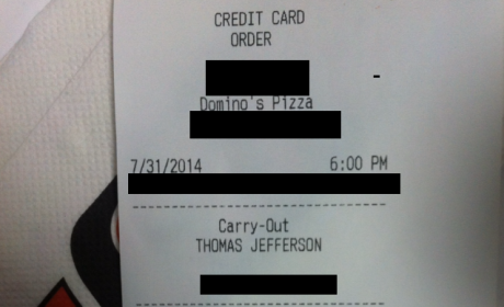 """Kid Uses Dad's Credit Card to Order Pizza, Signs Receipt ... """"Dad"""""""