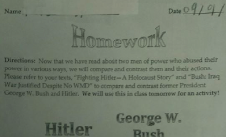 George W. Bush-Adolf Hitler Venn Diagram Used in Middle School Homework Assignment
