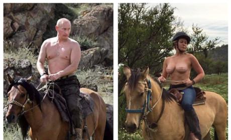Chelsea Handler Makes Like Vladimir Putin, Rides Horse Topless