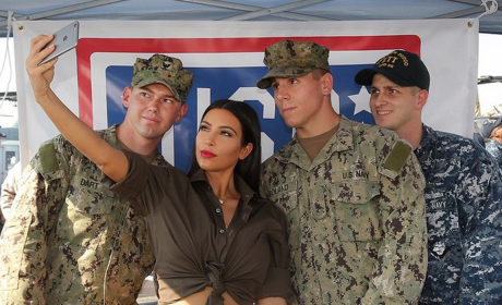 Kim Kardashian Supports the Troops, Snaps Selfie in Dubai