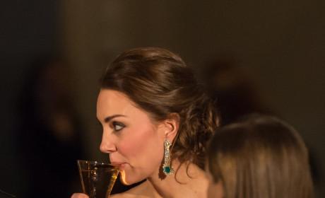 Kate Middleton Sips Champagne