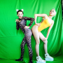 Miley Cyrus and Sister Pose in Weird Bodysuits
