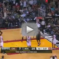 LeBron Jumps, Dunks Over John Lucas III