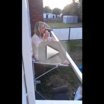 Drunk Girl Falls Off Awning