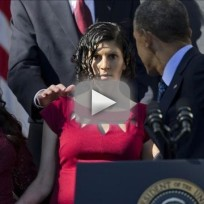 Woman at President Obama Speech Almost Faints