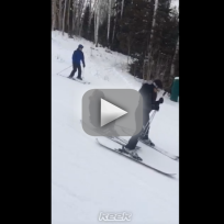 Kim Kardashian Falls on the Slopes