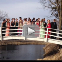 Students pose for prom photo collapse bridge